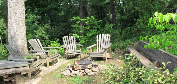 The Scene Above Makes Me Want To Come Back At Night For The Promised  Campfire. Four Adirondack Chairs And A Long Bench U2013 With A Back For Comfort  U2013 Make This ...